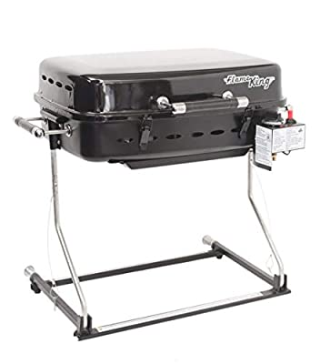 Flame King RV Mounted BBQ - Motorhome Gas Grill - 214 Sq Inch Cooking Surface - Adjustable Flame Controller