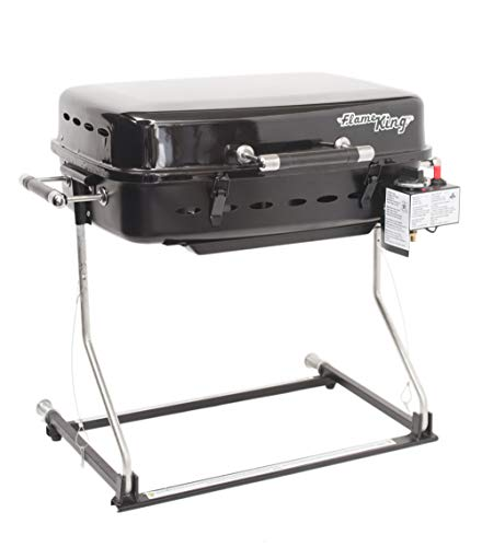 Flame King RV Or Trailer Mounted BBQ - Motorhome Gas Grill - 214 Sq Inch Cooking Surface - Adjustable Flame Controller