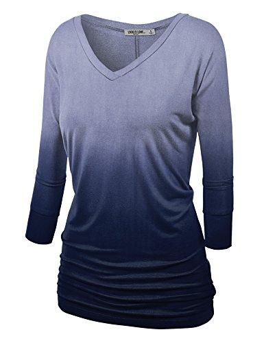 Love Dip Dye - WT1113 Womens V Neck 3/4 Sleeve Dip Dye Drape Dolman Top with Side Shirring XL NAVY