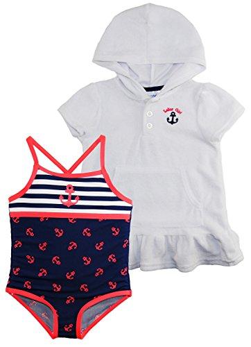 Wippette Little Girls Anchor Girl Swim Beach Terry Dress Cover Up Set, Navy, (Terry Beach Dress)