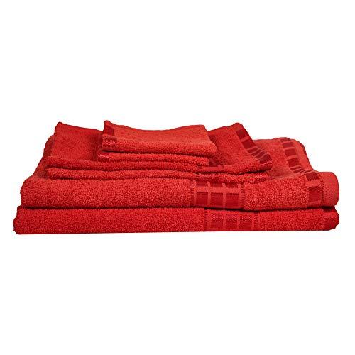 Eurospa Set of 6 Cotton Bath + Hand + Face Towel Set Red