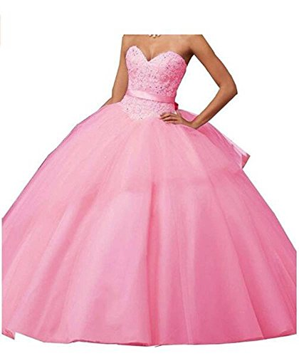 Ball Pink Sweetheart Women's Prom Gown Appliques Quinceanera Dress Long ANGELA nfSBxwn