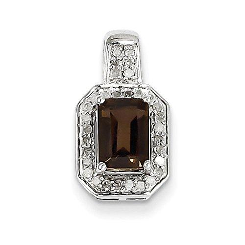Argent Sterling diamant et Quartz fumé pendentif-JewelryWeb
