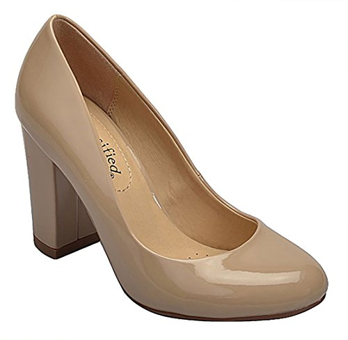 City Classified Comfort Womens Nola Faux Nubuck Leather Mary Jane Chunky High Heel Beige Pat Brad BlETD8sHII