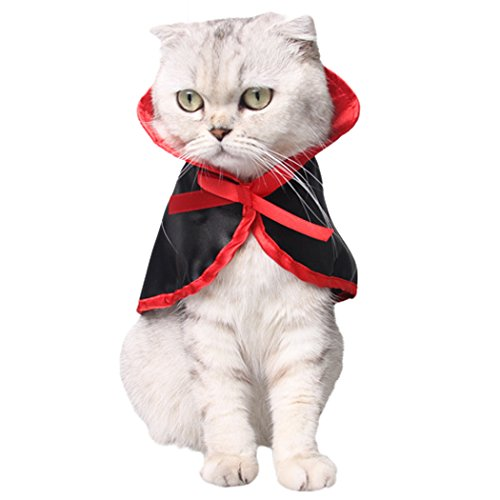 Cat Costume, Legendog Halloween Pet Costumes Vampire Cloak Halloween Costumes for Dogs Christmas Cute Cosplay Clothes for Small Dogs & Cats (Black & Red)