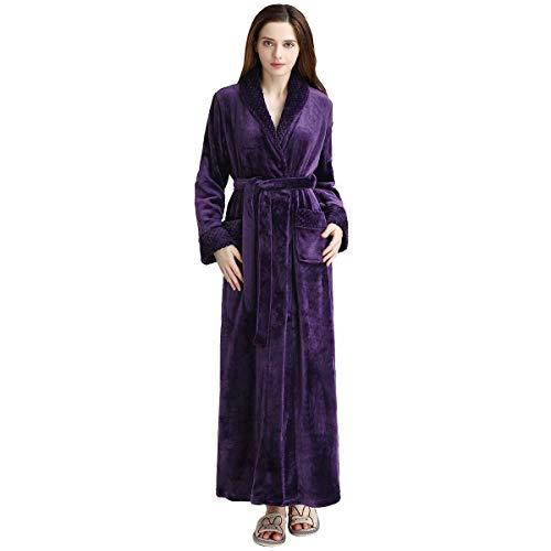 Long Bath Robe for Womens Plush Soft Fleece Bathrobes Nightgown Ladies Pajamas Sleepwear Housecoat - Plush Rope