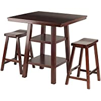 Winsome Wood Orlando 3 Piece Set High Table, 2 Shelves with 2 Saddle Seat Stools