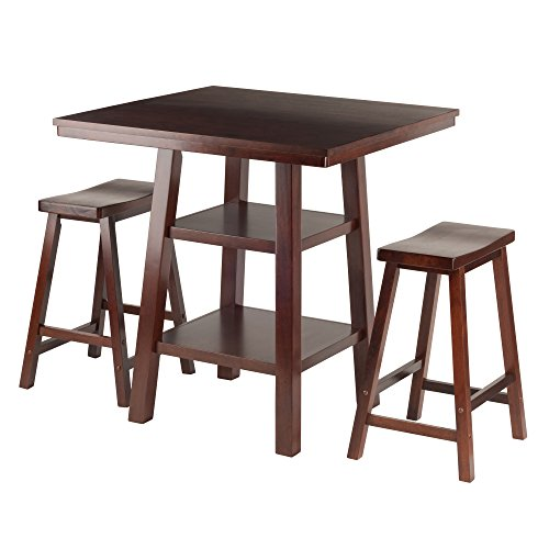 3 Shelf Square Table (Winsome Wood Orlando 3 Piece Set High Table, 2 Shelves with 2 Saddle Seat Stools)