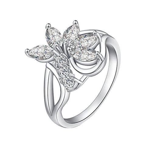YAZILIND 18K Cluster Fleur élégante de Nice Cristal Blanc Bague Fashion Lady Plaqué Argent Nouveau
