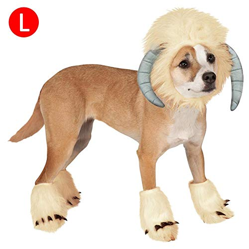 Greencolorful Pets Cosplay Costume Clothes,Dogs/Cats Wigs+ Funny Sheep Shaped Headgear Hats with Foot Covers for Christmas Party Dressing up -