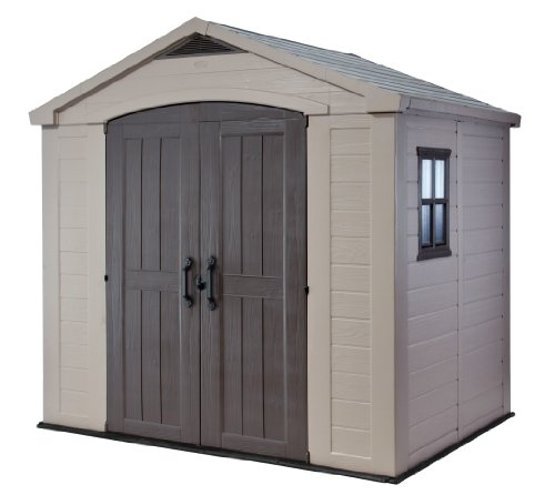 Keter Factor 8x6 Large Resin Outdoor Shed for Patio Furniture, Lawn Mower, and Bike Storage, Taupe/Brown (Factor 6)