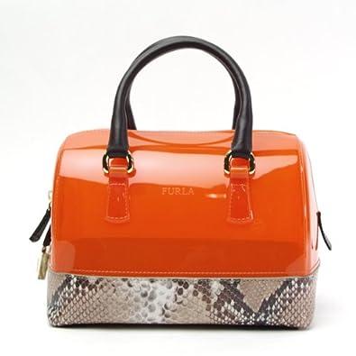 bd8d8f7e36a1 Amazon   フルラ FURLA キャンディバッグ ハンドバッグ ボストンバッグ BBQ5 オレンジ+パイソン   ボストンバッグ