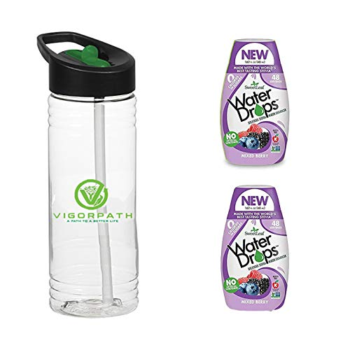 Sweetleaf Water Drops - Mixed Berry - Natural Stevia Flavor Enhancer Drops - Includes 22oz Sports Bottle with Mouth Piece & Straw - Pack of 2