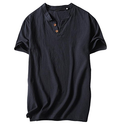 Clearance Sale! Wintialy Men's Summer Casual Linen and Cotton Short Sleeve V-Neck T-Shirt Top Blouse Tee