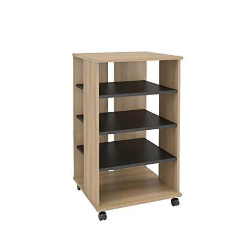 Birch Media Storage Cabinet - Nexera 103724 Jasper Mobile Storage Tower, Biscotti & Black