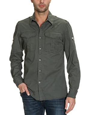 Men's G-Star Raw New Athan L/S Travis Twill Shirt in Battle Grey Size L