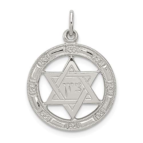 Sterling Silver Star of David Disc Charm Pendant
