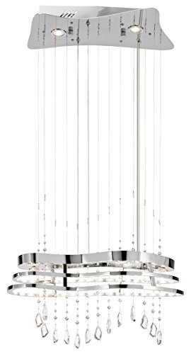 Elan Mini Chandelier - Elan Lighting 83120 Kascade - LED Chandelier, Chrome Finish with Clear Crystal