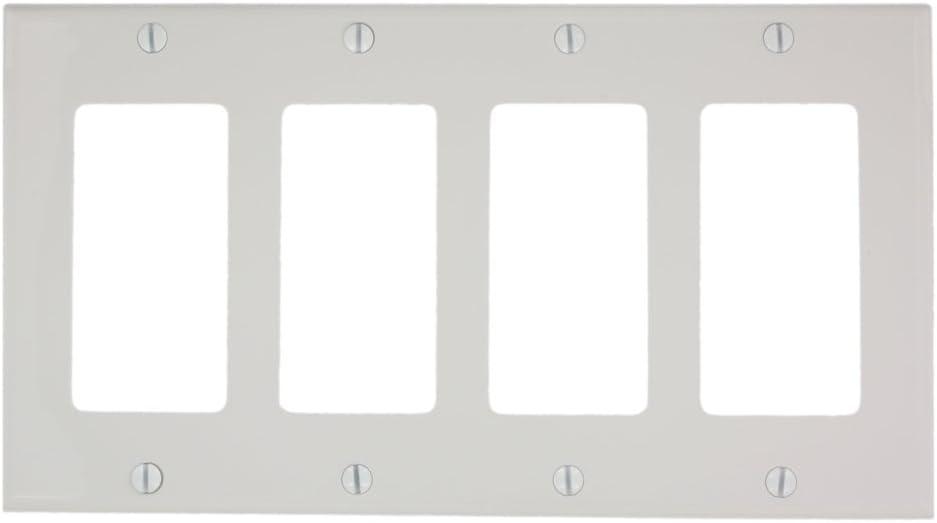 Leviton 80412-NW 4-Gang Decora/GFCI Device Wallplate, Standard Size, Thermoplastic Nylon, Device Mount, White