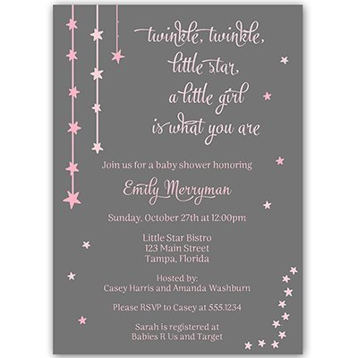 Twinkle Little Star Baby Shower Invitations Over The Moon Sprinkle Invites Wish Upon A Star Falling Stars Bright Night Gray Grey Pink Girls It's A Girl Customize Personalized (10 Count)]()