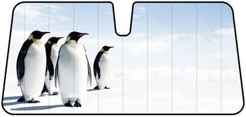 LA Auto Gear Snow Ice Happy Penguins Animal Car Truck SUV Front Windshield Sunshade - Accordion Style