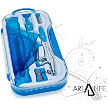 ArtLife - 10 Pcs Compass Set, Geometry Set for Students, Geometry Set for School, Divider, Set Squares, Ruler, Protractor, Compass Math, Compass and Protractor, Eraser