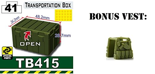 Free Tank Green TB415 Military Transit Box compatible with toy brick minifigures