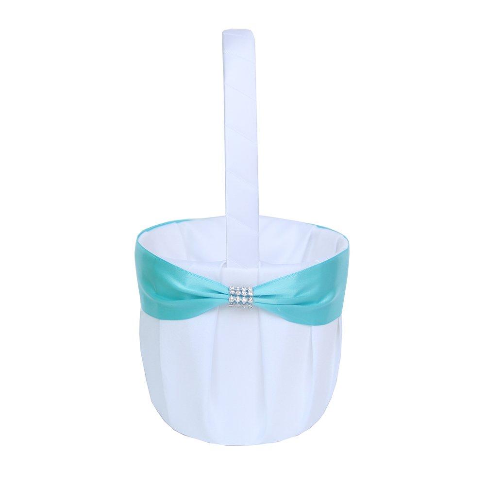 ARKSU 4pcs Wedding Sets Flower Girl Basket + Ring Bearer Pillow + Guest Book Pen + Pen Set Holder Rustic Bridal Wedding Shower Ceremony-Aqua Blue by ARKSU (Image #2)