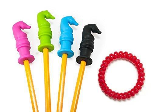 HUGE SALE - Chewable Pencil Topper With BONUS Chewable Bracelet - Fun Sensory Motor Aid - Perfect For Autism or ADHD - 4 Pack Knight Shape Plus Red Bracelet - Chewable Love Bites