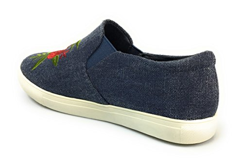 Forever Link Womens Retro Style Blue Denim & Embroidered Red Desire-71 Blue 0l13pAvaf