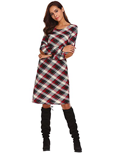 Halife Womens Round Neck Plaid Tunic Dress With Pocket Colorfull,L