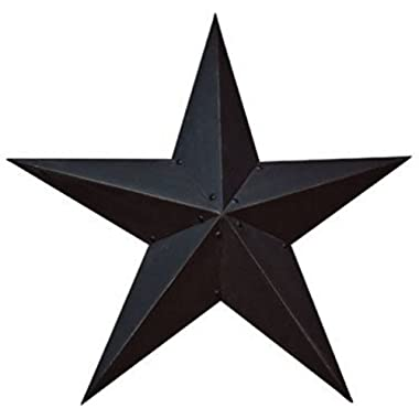 Large Dimensional Steel Metal Barn Star, 36-inch, Black Textured Matte Finish