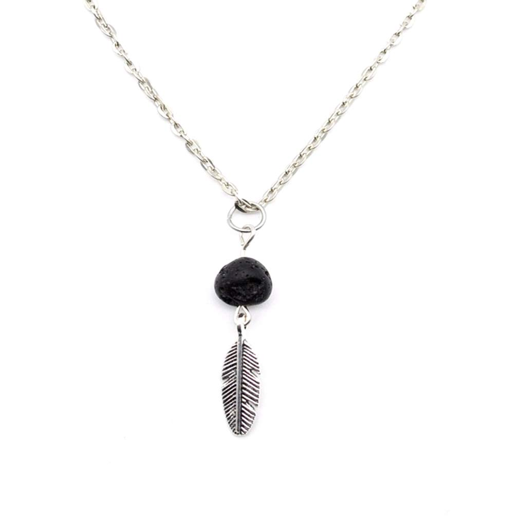 GloryMM Retro Feather Pendant Necklace with Aromatherapy Essential Oil Scent Diffuser Stone Beads for Women Girls,Silver