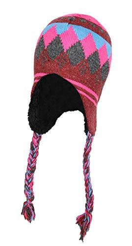 Pink Peruvian Knit Beanie Helmet Hat, Ragg Wool Trapper Cap w/Sherpa Fleece