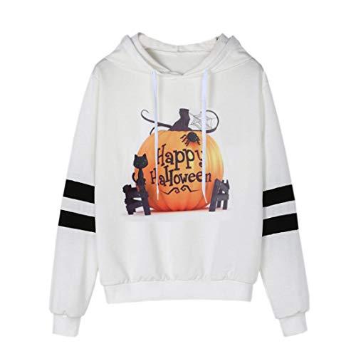 Clearance Womens Halloween Printed Hooded Sweatshirt - vermers Women Fashion Long Sleeve Tops Casual Hoodie Blouse(L, White)