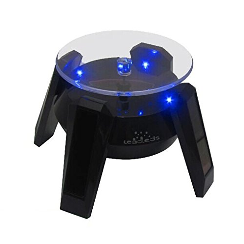 Price comparison product image Leadleds Exquisite New Black Solar Powered Display Stand Rotating Turntable with LED Light + (Colored Unit Packing Box)