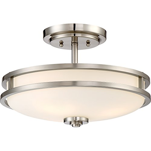 "Quoizel CDT1715BN Cadet Semi-Flush Ceiling Lighting, 3-Light, 300 Watts, Brushed Nickel (10"" H x 15"" W)"