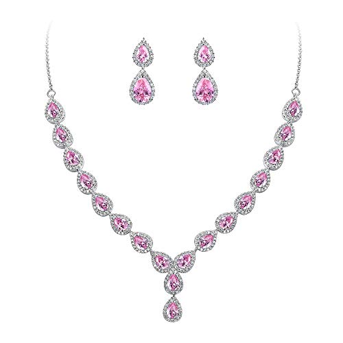 BriLove Wedding Bridal CZ Necklace Earrings Jewelry Set for Women Teardrop Infinity Figure 8 Y-Necklace Dangle Earrings Set Pink Tourmaline Color Silver-Tone October Birthstone