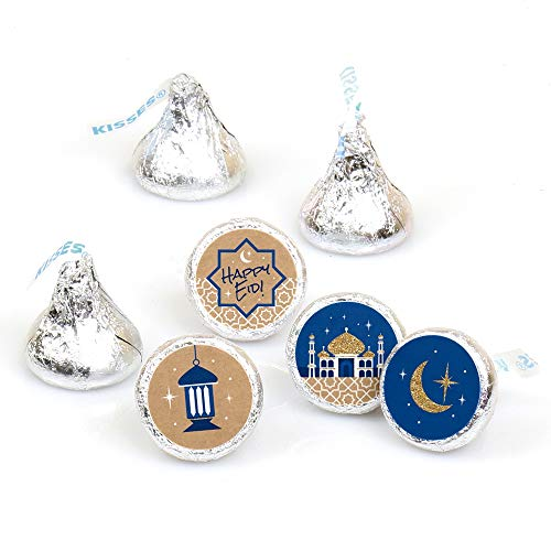 Ramadan - Eid Mubarak Round Candy Sticker Favors - Labels Fit Hershey's Kisses (1 Sheet of 108) ()
