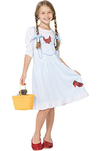 The Wizard of Oz Big Girls' Dorothy Costume Pajama Gown with Fleece Lined Ruby Slippers, Blue, 7/8 -