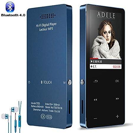 Sotefe® 16Go Lecteur MP3 Bluetooth MP3 Player MP4 Lecteur Baladeur Miroir Écran Tactile Super Sonore Haut-Parleur Vidéo FM Radio Enregistrement E-Book Jouer Plus 100H (Soutien Carte à 128Go)-Rouge Lecteur MP3 Bluetooth 4.0