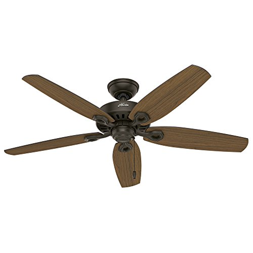 Hunter Indoor Outdoor Ceiling Fan, with pull chain control – Builder Elite 52 inch, New Bronze, 53292