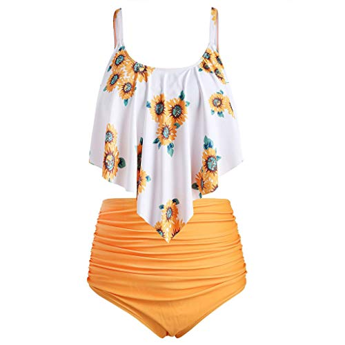(TWGONE Sunflower Bikini for Women High Waisted Two Pieces Bathing Suits Top Ruffled Beachwear Set(XX-Large,Orange))