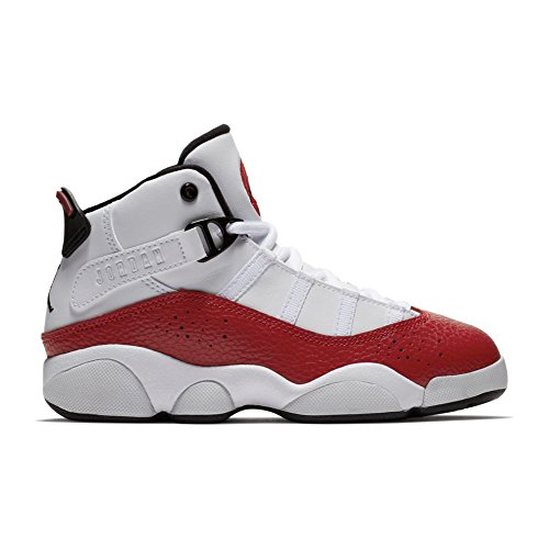 NIKE PS Boys' Jordan 6 Rings Basketball Shoes White/Black-Gym Red 11C (Jordan Shoes For Boys Ps)