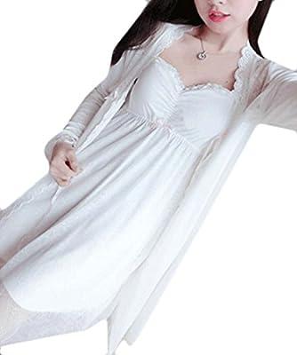 Cromoncent Women's 2 Piece Lace Nightgown Bathrobe Modal Pajama Set