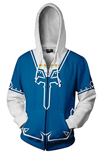 The Legend of Zelda Cosplay Costume Breath of The Wild Link Hoodie Sweatershirt Men's Halloween Zip up Coat