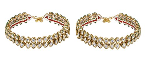 Muchmore Girls Ethnic Fashion Gold Tone Kundan Stone Payal Anklet Partwear Indian Jewelry by MUCHMORE