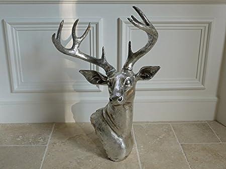 Wall Mounted Silver Stag Head Deer Large Antlers Reindeer Wall Art Hanging  Sculpture (Deer Head