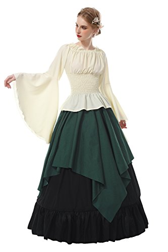 ROLECOS Womens Renaissance Medieval Costume Trumpet Sleeve Peasant Shirt and Skirt Green XXL ()