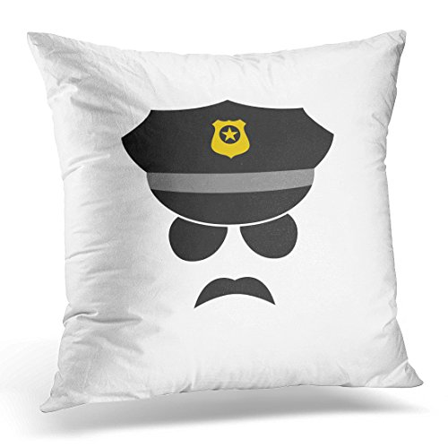 UPOOS Throw Pillow Cover Black Badge Policeman Avatar Police Officer Icon White Cap Sunglasses Decorative Pillow Case Home Decor Square 18x18 Inches - Glass Police Cooling